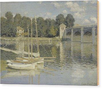 The Argenteuil Bridge Wood Print by Claude Monet