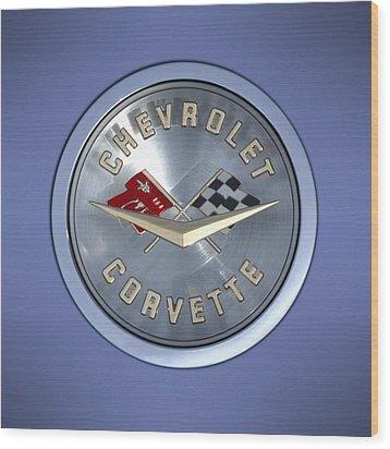 60 Chevy Corvette Emblem  Wood Print