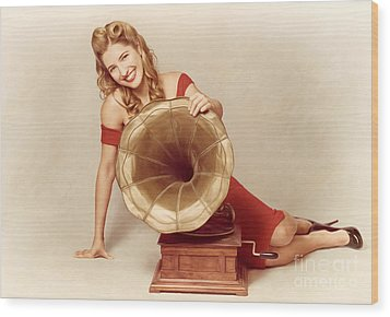 60s Pin Up Girl With Vintage Record Phonograph Wood Print by Jorgo Photography - Wall Art Gallery