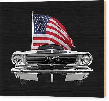 66 Mustang With U.s. Flag On Black Wood Print