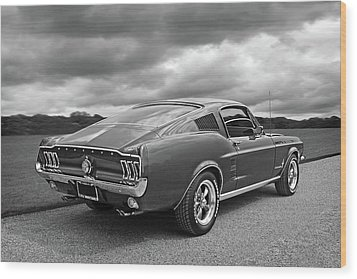 67 Fastback Mustang In Black And White Wood Print by Gill Billington