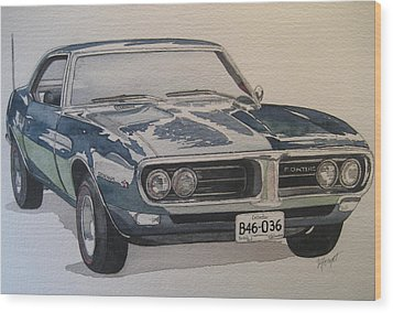 68 Firebird Sprint Wood Print by Victoria Heryet