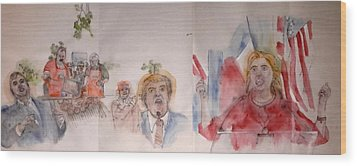 2016 Presidential Campaign  Album  Wood Print by Debbi Saccomanno Chan