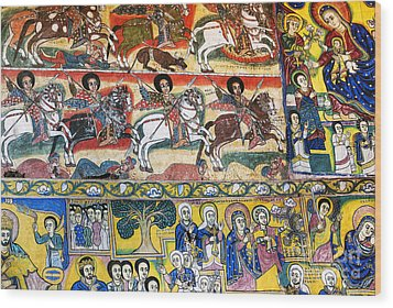 Ancient Orthodox Church Interior Painted Walls In Gondar Ethiopi Wood Print
