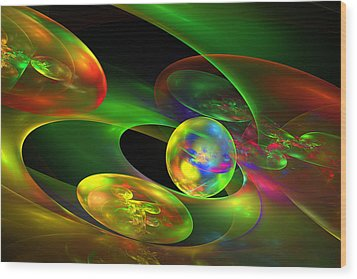 Computer Generated Planet Sphere Abstract Fractal Flame Modern Art Wood Print by Keith Webber Jr