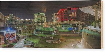 Greenville South Carolina Near Falls Park River Walk At Nigth. Wood Print