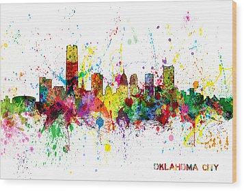 Wood Print featuring the digital art Oklahoma City Skyline by Michael Tompsett