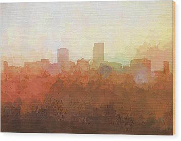 Wood Print featuring the digital art Omaha Nebraska Skyline by Marlene Watson