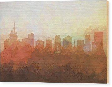 Wood Print featuring the digital art Orlando Florida Skyline by Marlene Watson
