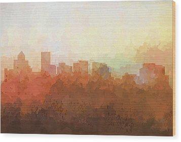 Wood Print featuring the digital art Salem Oregon Skyline by Marlene Watson