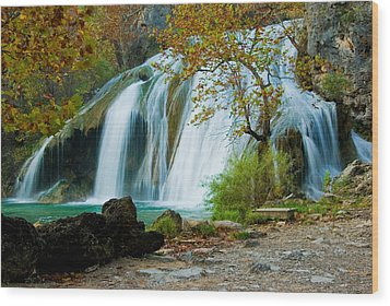 Turner Falls Wood Print by Iris Greenwell