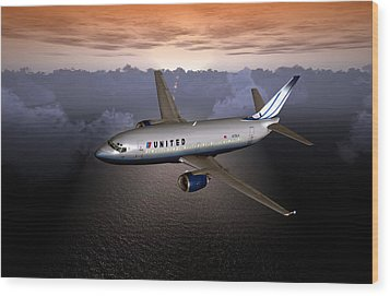 Wood Print featuring the digital art 737 Ual 06 by Mike Ray