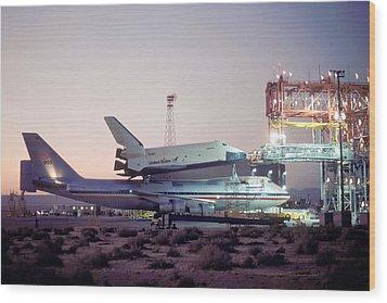747 With Space Shuttle Enterprise Before Alt-4 Wood Print by Brian Lockett