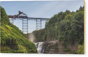 Wood Print featuring the photograph 765 Over Upper Falls by Mark Papke