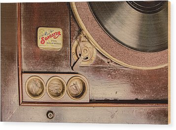 Wood Print featuring the photograph 78 Rpm And Accessories by Gary Slawsky