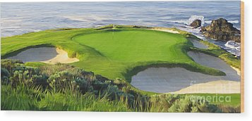 7th Hole At Pebble Beach Hol Wood Print