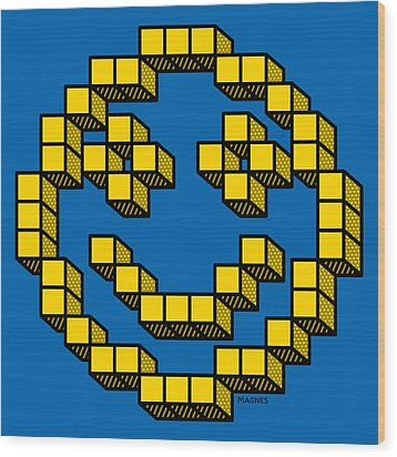 Wood Print featuring the digital art 8 Bit Smiley Face by Ron Magnes
