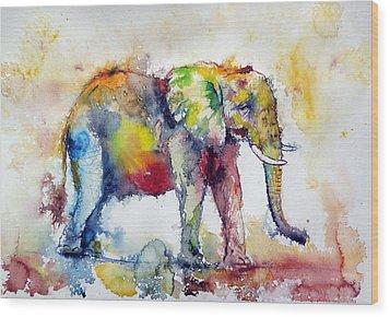 Big Colorful Elephant Wood Print