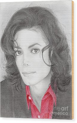 Wood Print featuring the drawing Michael Jackson #two by Eliza Lo