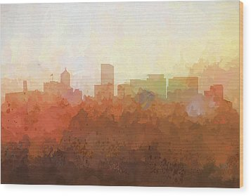 Wood Print featuring the digital art Portland Oregon Skyline by Marlene Watson