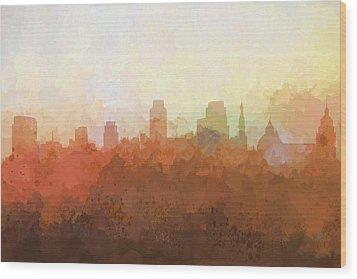 Wood Print featuring the digital art Sacramento California Skyline by Marlene Watson