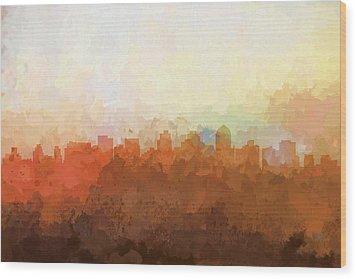 Wood Print featuring the digital art San Diego California Skyline by Marlene Watson