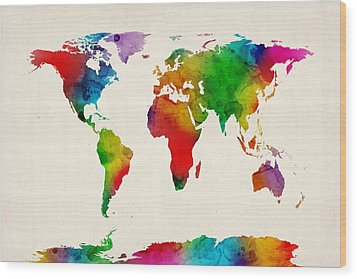 Wood Print featuring the digital art Watercolor Map Of The World Map by Michael Tompsett