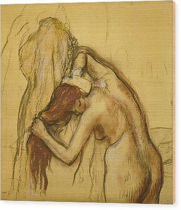 Woman Drying Herself Wood Print by Edgar Degas