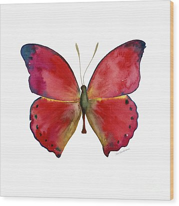 83 Red Glider Butterfly Wood Print