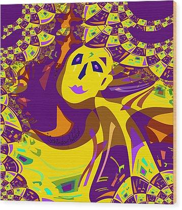 874 - Mellow Yellow Clown Lady - 2017 Wood Print