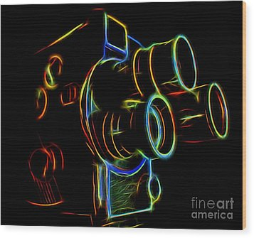 Wood Print featuring the photograph 8mm In Neon by Mark Miller