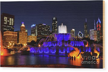 Wood Print featuring the photograph 911 Tribute At Buckingham Fountain, Chicago by Zawhaus Photography