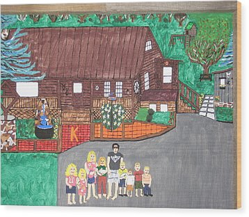 Wood Print featuring the painting 9 Grand Kids by Jeffrey Koss