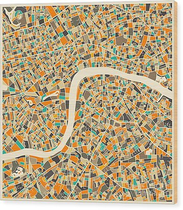 London Map Wood Print by Jazzberry Blue