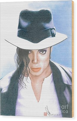 Wood Print featuring the drawing Michael Jackson #three by Eliza Lo