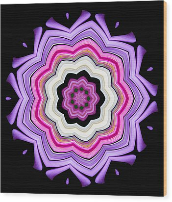 Wood Print featuring the photograph 9-petaled Violet by Baha'i Writings As Art