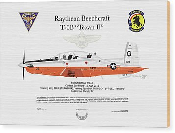 Raytheon Beechcraft T-6b Texan II Wood Print by Arthur Eggers