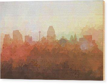 Wood Print featuring the digital art San Antonio Texas Skyline by Marlene Watson
