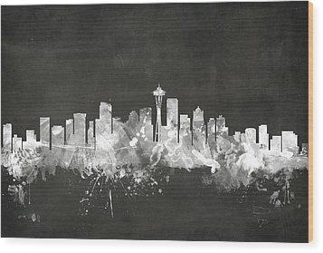 Seattle Washington Skyline Wood Print by Michael Tompsett