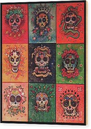 9 Skulls Wood Print by Dori Hartley