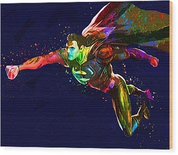 Superman Wood Print by Elena Kosvincheva