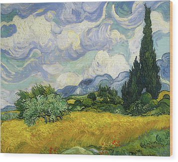 Wood Print featuring the painting Wheat Field With Cypresses by Vincent van Gogh