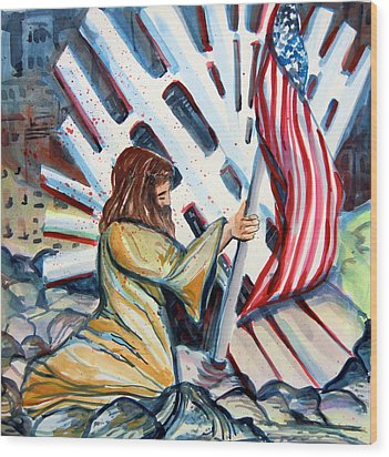 911 Cries For Jesus Wood Print by Mindy Newman