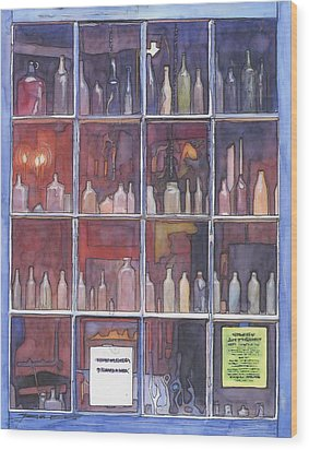 95   French Quarter Window With Bottles Wood Print by John Boles