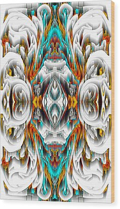 Wood Print featuring the digital art 992.042212mirror2ornategold-1-a by Kris Haas