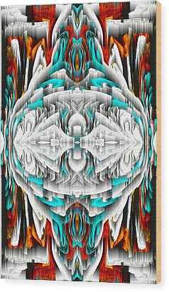 Wood Print featuring the digital art 992.042212mirror2ornateredablue-1 by Kris Haas