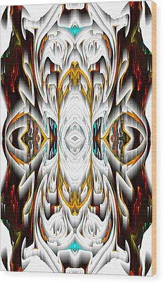 Wood Print featuring the digital art 992.042212mirror2ornateredagold-1a-1 by Kris Haas