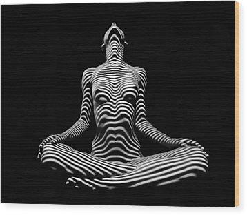 9934-dja Lotus Position In Zebra Stripes  Wood Print