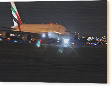 Emirates A380 Wood Print by Puzzles Shum