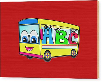 A B C Bus T-shirt Wood Print by Herb Strobino